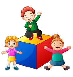 Kids playing with colored block vector