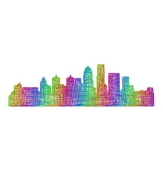 Louisville skyline - multicolor line art vector