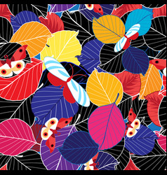 lovely autumn bright color pattern leaves vector image