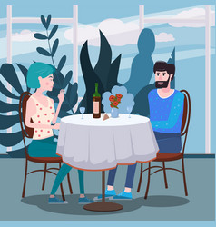 loving couple is drinking vine in cafe a man and vector image