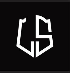 Ls logo monogram with shield shape ribbon design vector