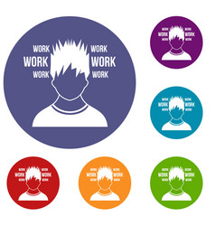 man and work words icons set vector image