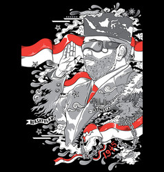 man with glasses and beard with indonesia flags vector image