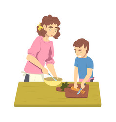 Mom and her son cooking in kitchen parent vector