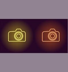 neon icon of yellow and orange photo camera vector image
