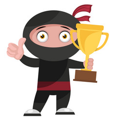 Ninja with trophy on white background vector