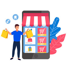 online shopping concept happy man stands with vector image