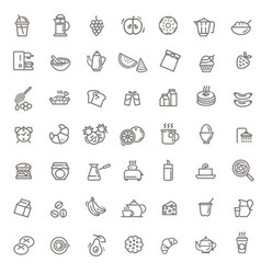 Outline breakfast flat icons vector