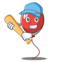 Playing baseball balloon character cartoon style vector