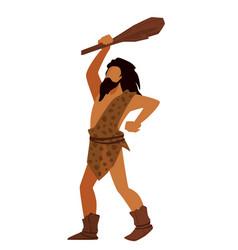 Prehistoric man holding wooden bat hunter vector