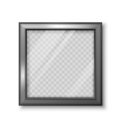 realistic square black frame with transparent vector image