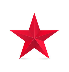 red star 3d isolated on white vector image