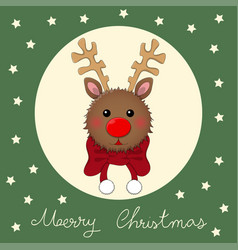 Reindeer with red scarf on green christmas vector