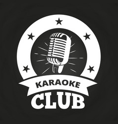retro karaoke club label vector image
