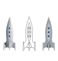 rocket symbol 3d line art flat icons set isolated vector image
