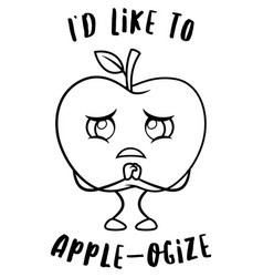 sad apple fruit vector image