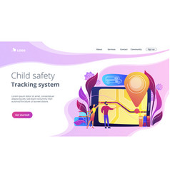 school bus tracking system concept landing page vector image