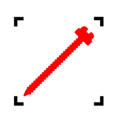 Screw sign red icon inside vector