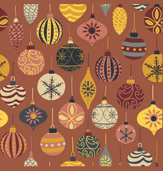 seamless christmas pattern holiday ornament vector image