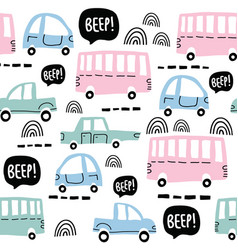 seamless pattern with cute cars vector image