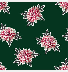 Seamless pattern with dahlia flowers vector