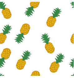 Seamless pineapple pattern on white background vector