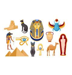 Set ancient egypt religious symbols vector