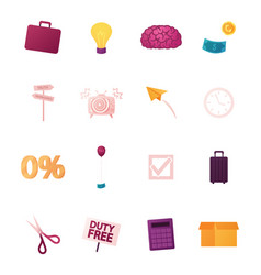 set business icons isolated on white background vector image