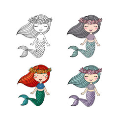 Set cute cartoon little mermaid siren sea vector