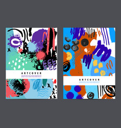 set of art covers ink hand drawn posters vector image