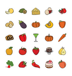 set of hand drawn food icons vector image