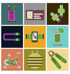 set of icons in flat design gym equipment vector image