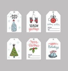 set six christmas gift tags templates vector image