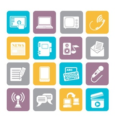 Silhouette Communication and connection icons vector