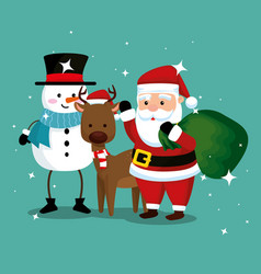 snowman with deer and santa claus with bag vector image