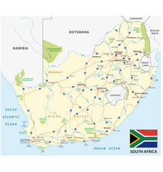 south africa road map with flag vector image