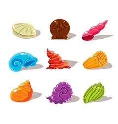 Sparkling Cartoon Sea Shells vector