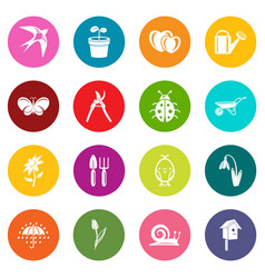 spring icons set colorful circles vector image