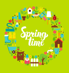 Spring time flat circle vector