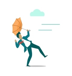 Strong wind Blowing on Man with Umbrella vector