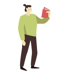 student with book education and knowledge vector image