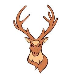 Stylized flat forest vintage color deer head vector