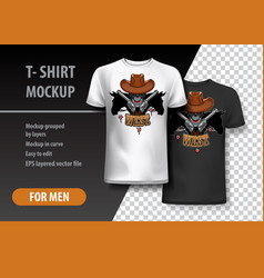 t-shirt template fully editable with cowboy skull vector image