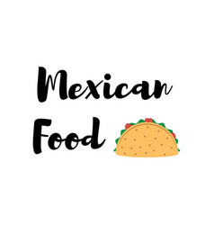 Taco traditional mexican food label vector