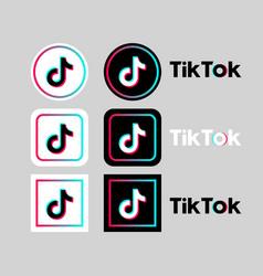 tik tok social network icon set on gray vector image