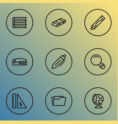 tool icons line style set with magnifier books vector image