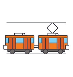 tram line icon concept tram flat sign vector image