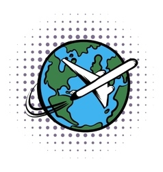 Traveling by a plane comics icon vector image