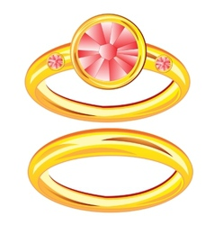 Two gold rings vector image