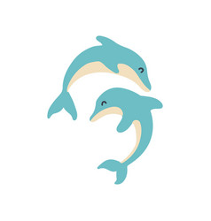 two jumping dolphins simple flat hand vector image